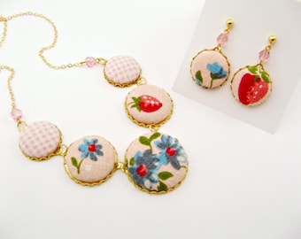 Textile Statement Button Necklace and Earring Set - Strawberries, Pink Gingham Linen
