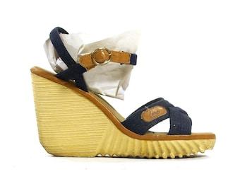 80s Platform Sandals Vintage 1980s Gum Sole Wedges Strappy Navy Blue Vegan Platforms High Heel Hippie Boho Summer Sandals Women's Size 8