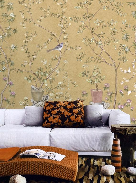 Vintage Taupe Chinoiserie Wallpaper Flower Branch Birds Peach