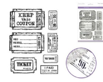 Forever in Time Clear Cling Rubber Stamp Tickets Set Keep This Coupon