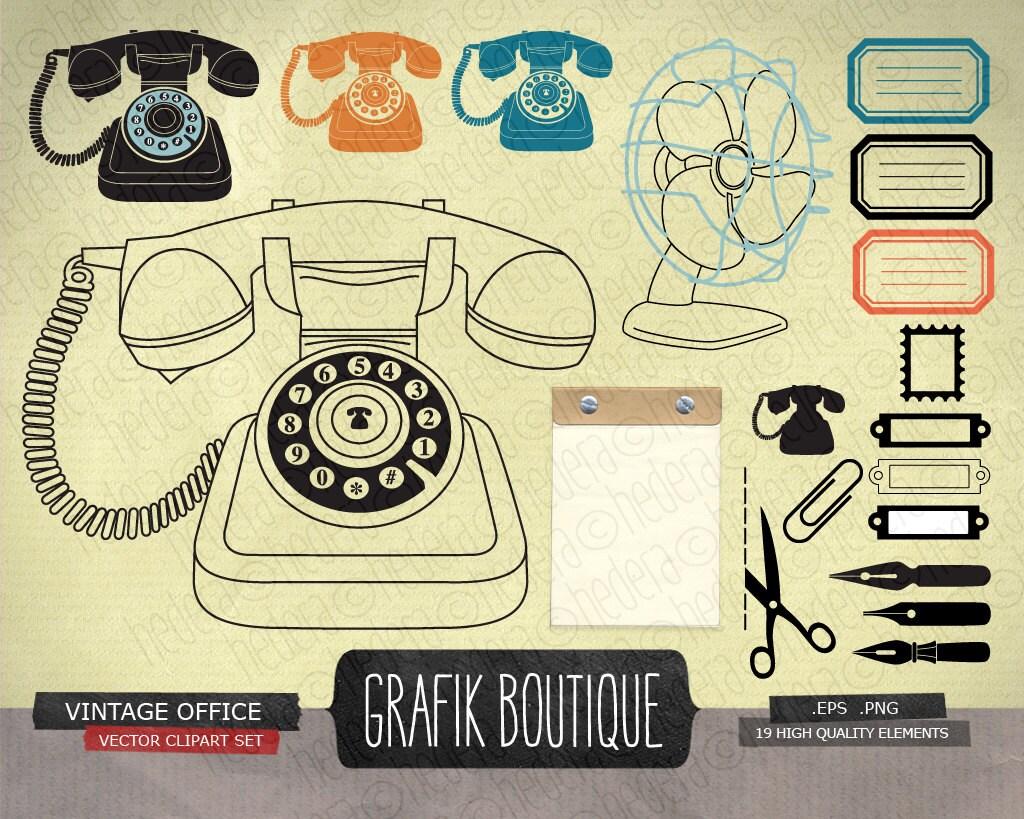 Vintage office digital vector clip art retro phone zoom stopboris Image collections
