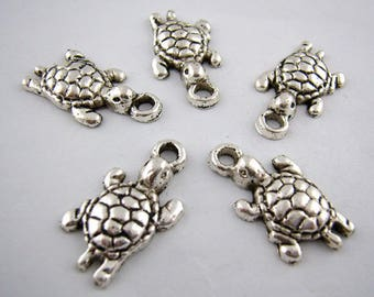 15 turtles charms engraved zinc alloy