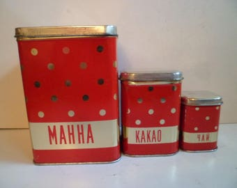 Set of 3 Soviet Red Tin Boxes, Polka Dots Tins, Soviet Tin Containers, Vintage metal tin boxes for kitch