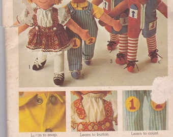 Vintage Cloth Doll Pattern Learning Pattern for Toddlers Dolls Clothes With Face Transfers Rag Dolls Girl and Boy Dolls