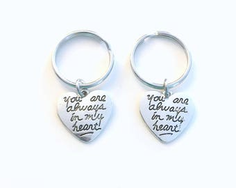 Parents of the Bride Groom Gift, Set of 2, Silver Heart Keychain, Heart Quote Keyring, You are always in my heart Key Chain, Men women him