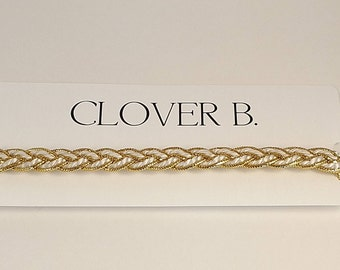White and Gold Braid Choker Necklace