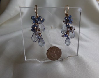 Blue quartz and kyanite dangle earrings 1 5/8 inch total 14k gold filled item 988
