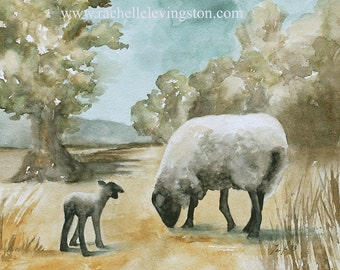 fall gift fall landscape painting fall art PRINT fall decor fall decoration sheep painting sheep animal watercolor farm lamb painting