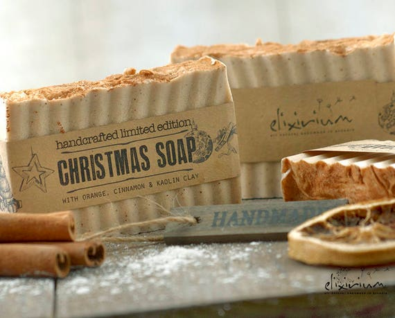 CHRISTMAS SOAP • Orange & Cinnamon with Kaolin Clay, a rustic, vegan, handmade soap for organic skin care in the magical Christmas time.