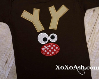 Christmas Reindeer Face--Boy or Girl--Embroidered shirt or Bodysuit