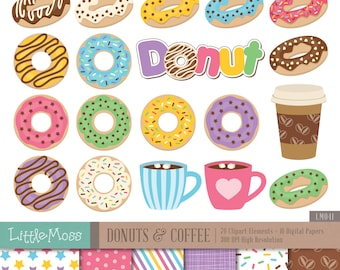 Donuts and Coffee Digital Clipart and Papers, Doughnut Clipart