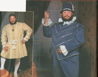 OOP King Henry VIII Renaissance Costume Pattern Tudor Lord Cosplay Simplicity 9633 Mens Sewing Pattern Size S-M-L Uncut