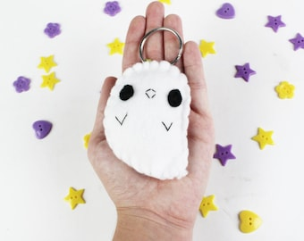 Ghost Keychain - Halloween Keyring, Trick or Treat, Felt Ghost, Party Favors