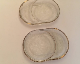 Vintage 2 Glass Coasters TeaBag Holder Spoon Rests Gold Trim