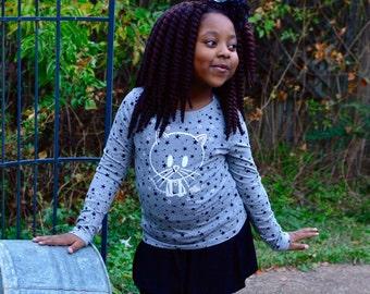 7-13yrs Girls Zombie Kitty Cat Loverocky long sleeve Grey Black Stars top t-shirt cosy and stars hygge rocky the zombie t-shirt