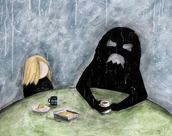 Don't You Think It's Strange That I've Been Reading? -  8x10 Art Print - Shadow Monster & Friend Have Coffee and Cake - Art by Marcia Furman