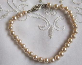 Vintage Silver Tone Faux Pearl Bracelet
