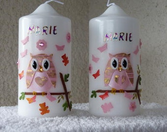 Two Pate candles - table candles with OWL