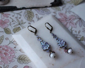 Delicate lacy pink & pearl dangle earrings