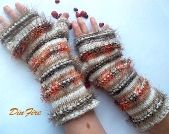 Women L 20% OOF Ready To Ship OOAK Bohemian Fingerless Boho Mittens Hand Knitted Striped Warm Wool Accessories Arm Wrist Warmers Winter 1080