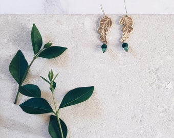 Banana leaf earrings, green earrings, tropical leaf jewelry, tropical earrings