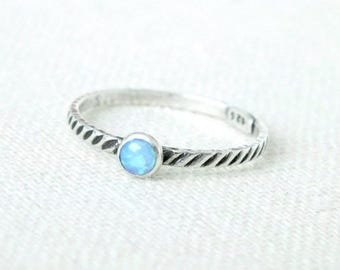 Sterling Silver Opal Ring, Textured Opal Ring, Dainty Gemstone Ring, Opal Stacking Ring