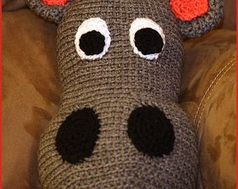 DIGITAL DOWNLOAD: PDF Written Crochet Pattern for Happy Hubert the Hippo Pillow