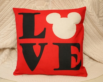 disney red love with mickey ears cushion cover 45 by 45 cm gift