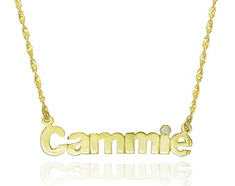 14K Yellow Gold Personalized Nameplate Necklace with CZ - Customize Any Name