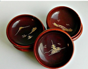 SUMMER SALE Japanese Lacquer Bowls, Vintage Asian Rice Bowls, Asian Soup Bowls, Dark Brown Wooden Lacquer Bowls, Set of 5.