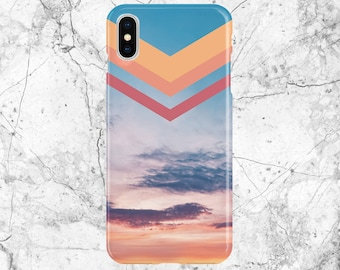 Phone Case - iPhone X case - Google Pixel II case - Tough Case - Samsung Galaxy s9 Case - Chevron Pastel Skies - Cotton Candy Sunset
