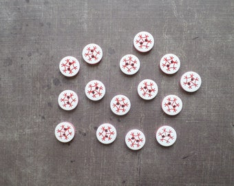 Round color red and white pattern snowflake 1.2 cm 40 buttons
