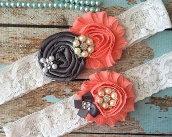 Charcoal and Coral wedding garter set / bridal  garter/  lace garter / toss garter included /  wedding garter