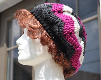 Pink and Grey Ripple Crochet Hat - Lightweight Beret - Chevron Hat - Women's Hat - Crochet Beret