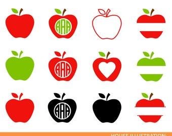 Apple Svg,Teacher Monogram Svg,School Svg,Split Apple Svg,Teacher Svg,Apple Cricut Cut File,Split Svg,Apple svg vector,Apple Vinyl,Split Svg