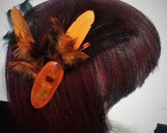 Large Feather Fascinator Barrette Hair Clip