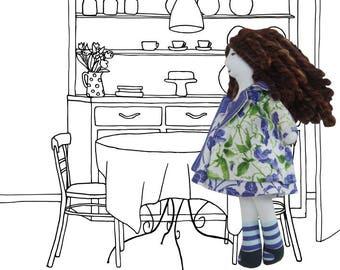handmade cloth doll, original fabric design, removable clothes