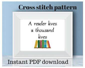 Cross stitch pattern, digital download, reader cross stitch, library cross stitch, book lover, book quote