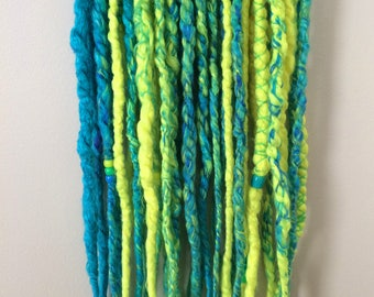 18 Double Ended Yarn Dreads (aqua blue, royal blue, neon green, and neon yellow)