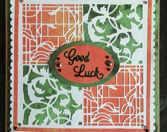 Orange and Green Vine and Flowers Patchwork Squares Good Luck Card