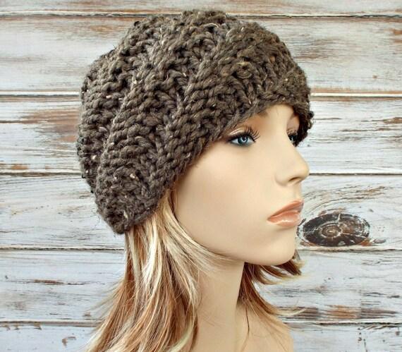 Knit Hat Womens Hat - Swirl Beanie in Barley Tweed Taupe Brown Knit Hat - Brown Hat Brown Beanie Womens Accessories Winter Hat