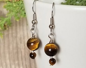 Double Tigereye Earrings - Gemstone Earrings - Hanging Earrings