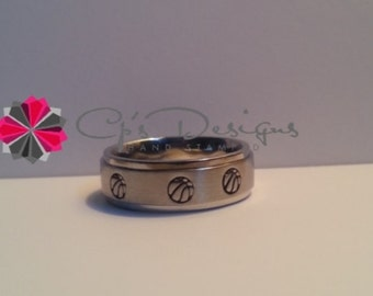 Hand stamped Stainless Steel Basketball ring, Comfort fit band, 6mm, Sizes 3-16, Your color choice