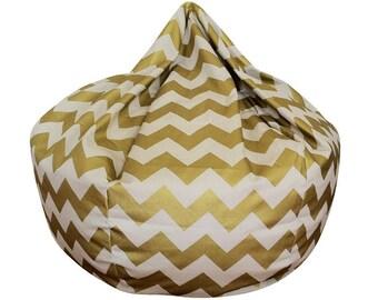 Chevron Bean Bag Chair Metallic Gold