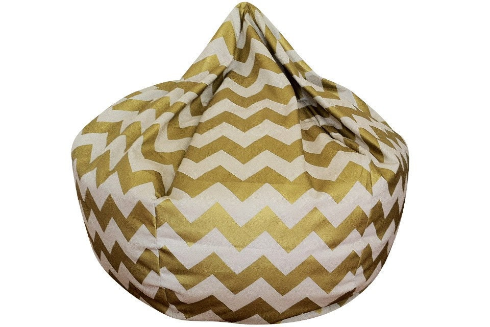 Chevron Bean Bag Chair Metallic Gold