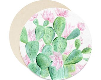 Floral Cactus Coasters, set of 6 coasters, succulent coasters, cactus coasters, floral coasters, cactus coaster, succulent coaster