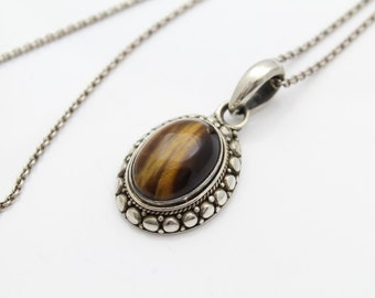 """Bold Vintage Tigers Eye Pendant Set on 18"""" Sterling Silver Chain. [8085]"""