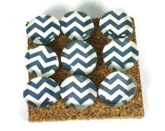 Decorative Funky Push Pins  Thumb Tacks Cork Board Pins  Navy Chevron (P125)