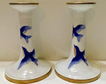 Nippon Japan Blue Birds Gold Trim Candleholders Set