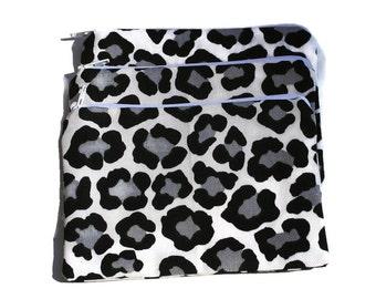 Reusable Snack Bags Set of 3 Zipper Animal Print Cotton Twill Black White Gray